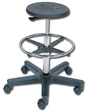 PNEUMATIC LIFT STOOL WITH FOOT RING ON CASTERS